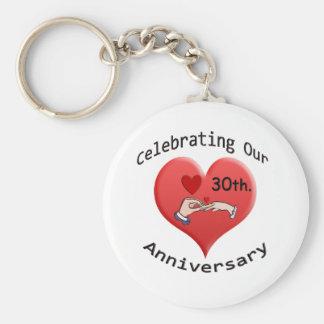 30th. Anniversary Basic Round Button Keychain