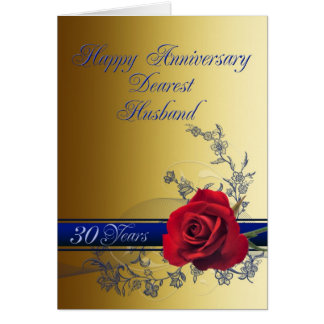 30th Anniversary card for husband with a red rose