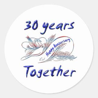 30th. Anniversary Classic Round Sticker