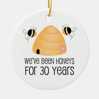 30th Anniversary Couple Gift Ceramic Ornament