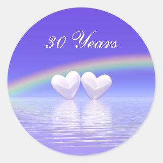 30th Anniversary Pearl Hearts Classic Round Sticker