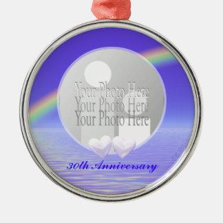 30th Anniversary Pearl Hearts (photo frame) Metal Ornament