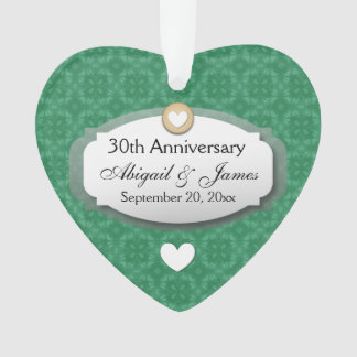 30th Anniversary Wedding Anniversary Green Z08 Ornament