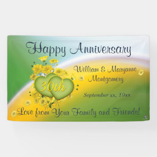 30th Anniversary Yellow Flowers Love Celebration Banner