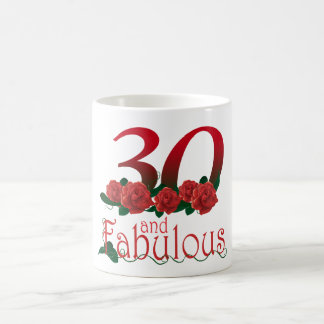 30th birthday 30 and fabulous red roses floral mug