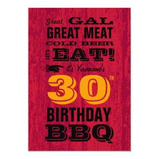 "30th Birthday BBQ Grill Out 5"" X 7"" Invitation Card"
