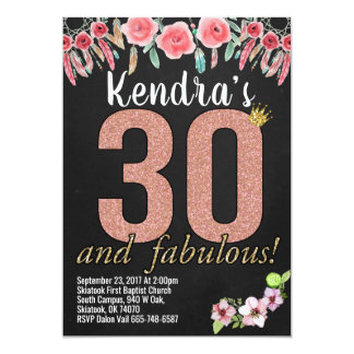30th Birthday Birthday Party Invitations floral
