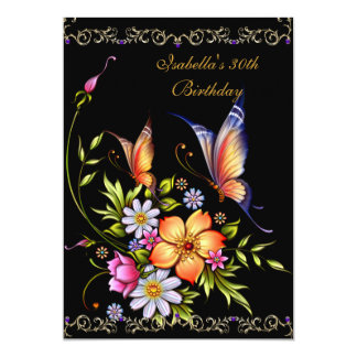 30th Birthday Black Yellow Blue White Floral Card
