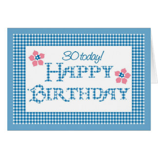 30th Birthday, Blue Check Gingham Pattern Card