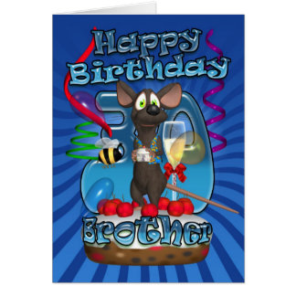 30th Birthday Card For Brother - Funky Mouse On A