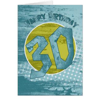 30th Birthday Card - Modern Grunge Birthday Card
