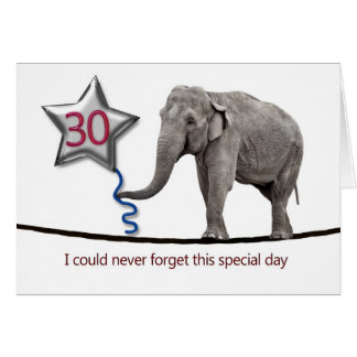 30th Birthday card with tightrope walking elephant