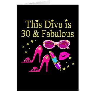 30TH BIRTHDAY DAZZLING DIVA DESIGN CARD