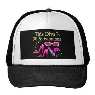 30TH BIRTHDAY DAZZLING DIVA DESIGN TRUCKER HAT