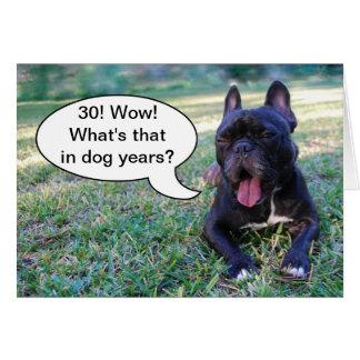 30th Birthday Dog Years French Bulldog Card