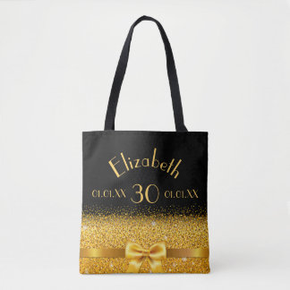 30th birthday elegant gold bow with sparkle black tote bag