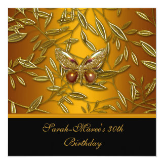 "30th Birthday Elegant Gold Yellow Black Butterfly 5.25"" Square Invitation Card"