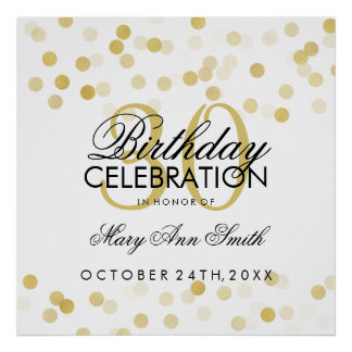 30th Birthday Faux Gold Foil Glitter Lights Poster