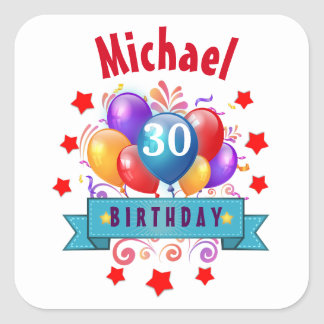 30th Birthday Festive Colorful Balloons C01BZ Square Sticker