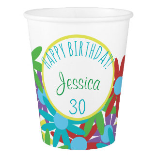 30th Birthday Floral Personalized Paper Cup
