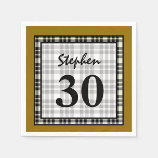 30th Birthday Gold and Black Plaid A04 Paper Napkins