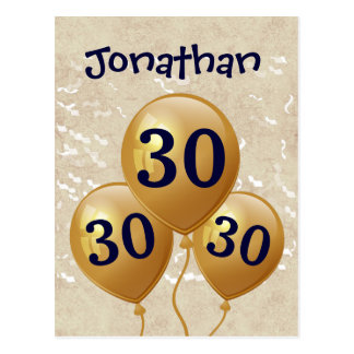 30th Birthday Gold Balloon A01 Postcard