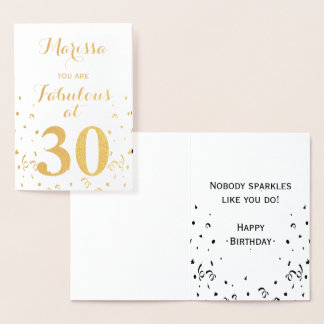 30th Birthday Gold Foil Fabulous at 30 Foil Card