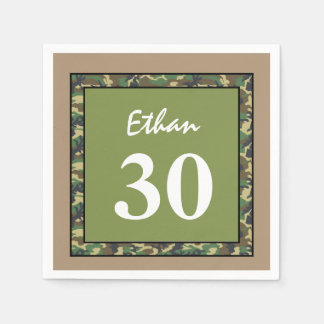 30th Birthday Green and Tan Camo A01D Paper Napkin