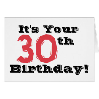 30th birthday greeting in red, black and white. card