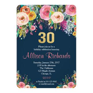30th birthday invitation floral watercolor navy