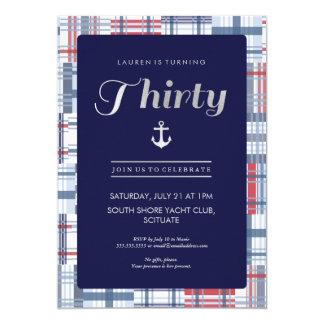 30th Birthday Invitation - Thirty, Nautical Summer
