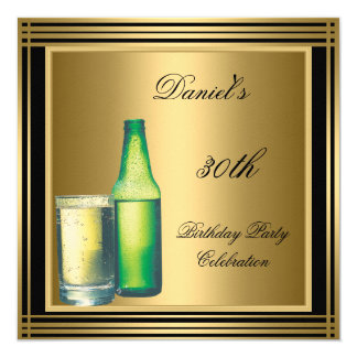 "30th Birthday Mens Black Gold Cold Drinks Mans 5.25"" Square Invitation Card"