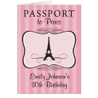 30th Birthday Paris Passport Invitation