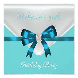 30th Birthday Party Bow White Teal Blue 2 Card