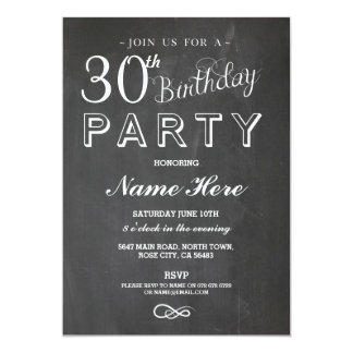 30TH BIRTHDAY PARTY CHALKBOARD SURPRISE INVITE