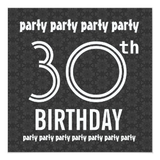 30th Birthday Party Charcoal Stars and White W1491 Card