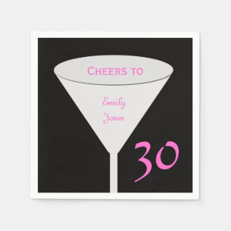 "30th Birthday Party ""Cheers To"" Paper Napkins"