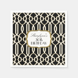 30th Birthday Party Decor Trellis Art Black Gold Napkin