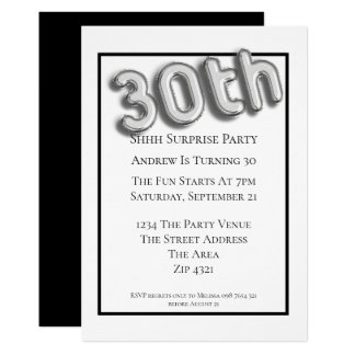30th Birthday Party Faux 3d Silver Balloon Font Card