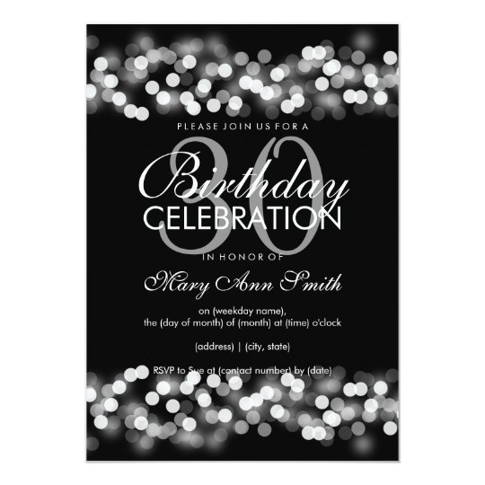 30th Birthday Party Faux Silver Hollywood Glam Card