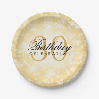 30th Birthday Party Gold Winter Wonderland Paper Plate