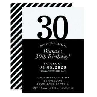 30TH BIRTHDAY PARTY INVITE modern minimal black