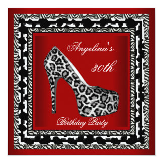 "30th Birthday Party Leopard Wild Black White Red 5.25"" Square Invitation Card"