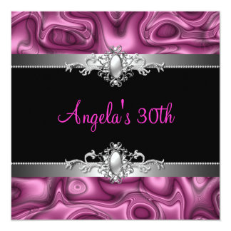 30th Birthday Party Pink Silver Black Abstract Card