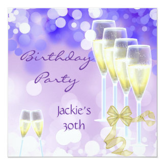 30th Birthday Party Purple Champagne Glasses Card
