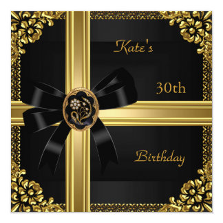 30th Birthday Party Rich Royal Black Gold Jewel Card