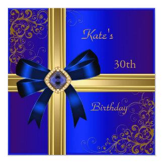 30th Birthday Party Rich Royal Blue Gold Jewel Card