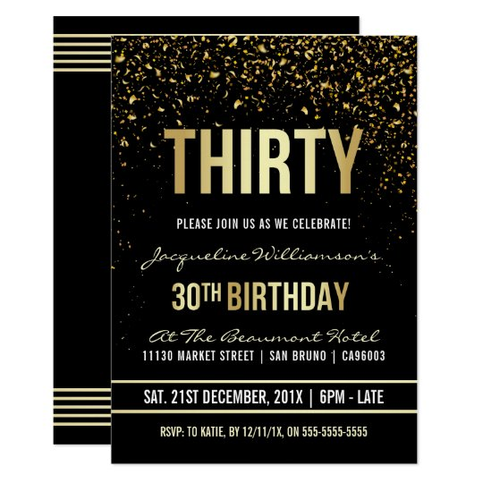 30th Birthday Party | Shimmering Gold Confetti Card
