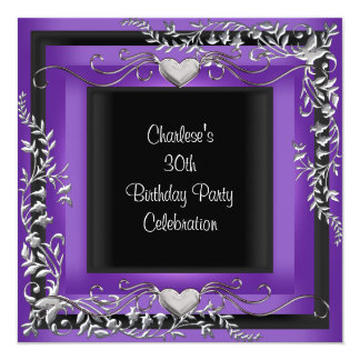 30th Birthday Party Silver Purple Card