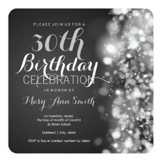 30th Birthday Party Silver Sparkling Lights Card
